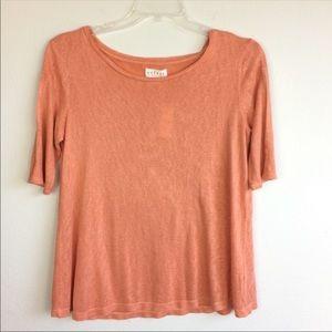 Velvet   NWT Peach Top Slit Sleeves